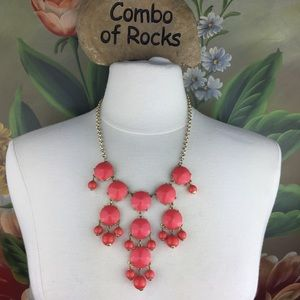 J. Crew Coral Drop  Bib Style Statement Necklace